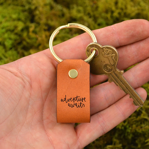 Adventure Awaits Leather Keychain