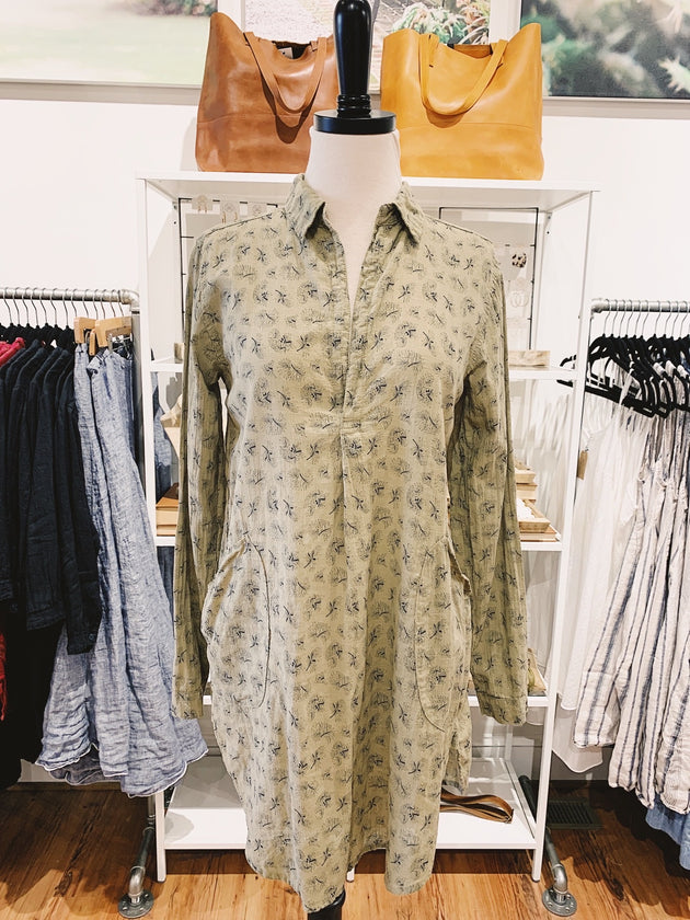 Teton Tunic in Sage Printed Linen