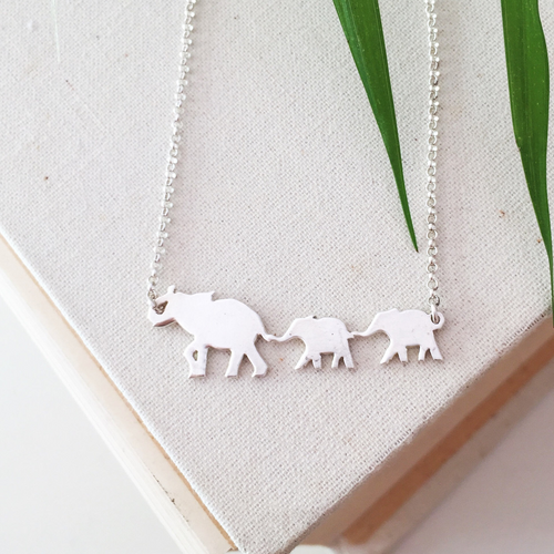 Mama Elephant & Babies Necklace