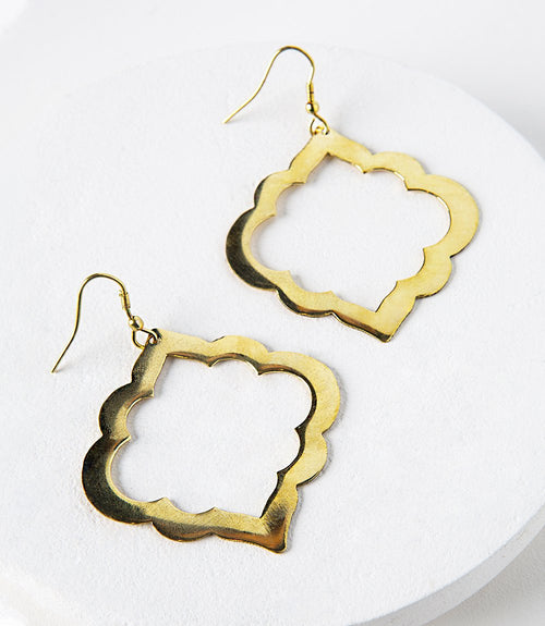 Ashram Window Earrings in Gold