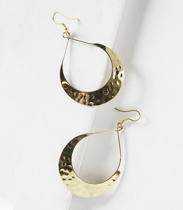 Lunar Crescent Earrings in Gold