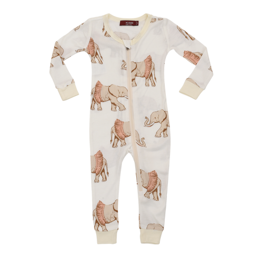 Organic Zipper Pajamas in Tutu Elephants