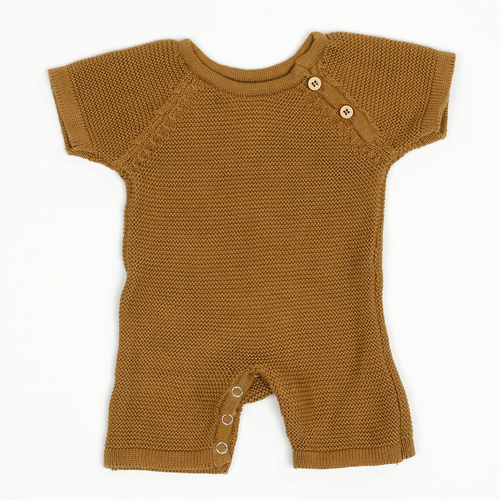 Organic Cotton Knit Short Romper in Bronze