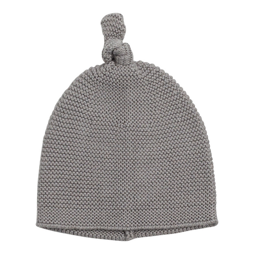 Cozy Top Knot Hat in Gray