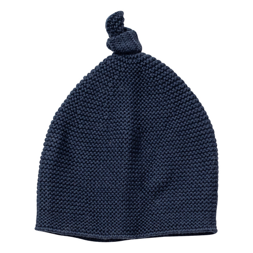 Cozy Top Knot Hat in Navy