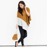 Organic Cotton Travel Poncho in Bronze Colorblock
