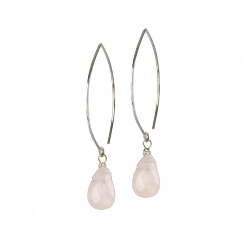 Soul Full of Light Long Earring in Rose Quartz - Love