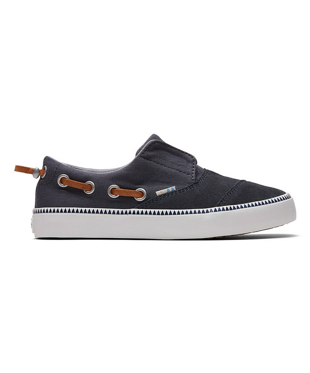Iron Gray Canvas & Suede Kid's Pasadena Slip-On Sneaker