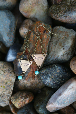 fly fishing jewelry trout earrings turquoise