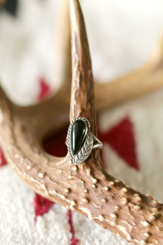 Vintage Sterling Silver and Onyx Ring Artist Signed - Cowgirl Relics