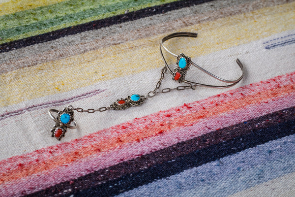 Vintage Sterling Silver Turquoise and Coral Ring Bracelet - Cowgirl Relics