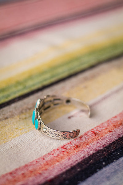 Vintage Fred Harvey Style Sterling Silver and Turquoise Cuff - Cowgirl Relics