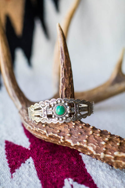 Vintage Fred Harvey Style Turquoise Cuff - Cowgirl Relics