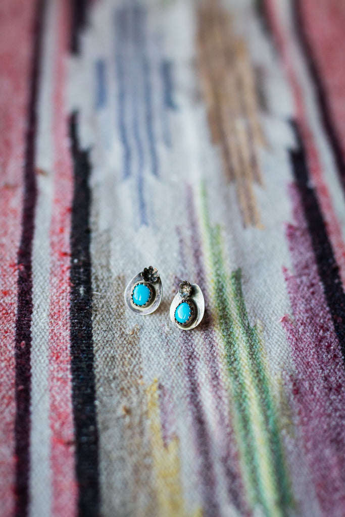 Vintage Sterling Silver and Turquoise Studs - Cowgirl Relics
