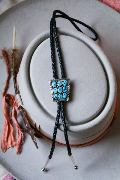 vintage sterling silver and 9 stone turquoise bolo tie