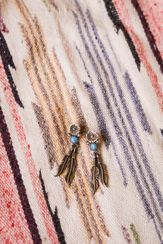 Vintage Navajo Lapis and Feather Earrings - Cowgirl Relics