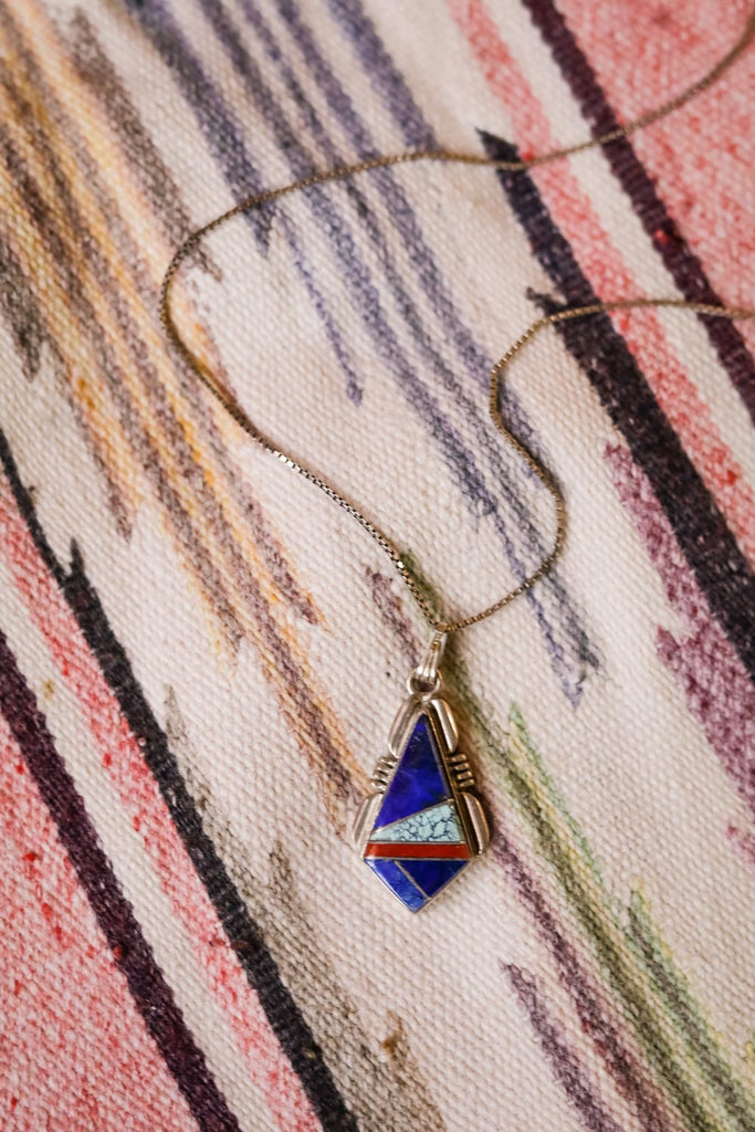 Vintage Lapis Inlay Necklace - Cowgirl Relics