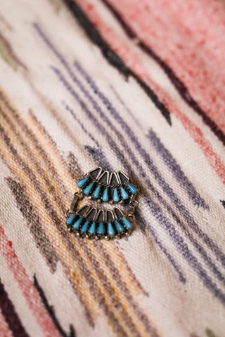 Vintage Turquoise Petite Point Brooch - Cowgirl Relics