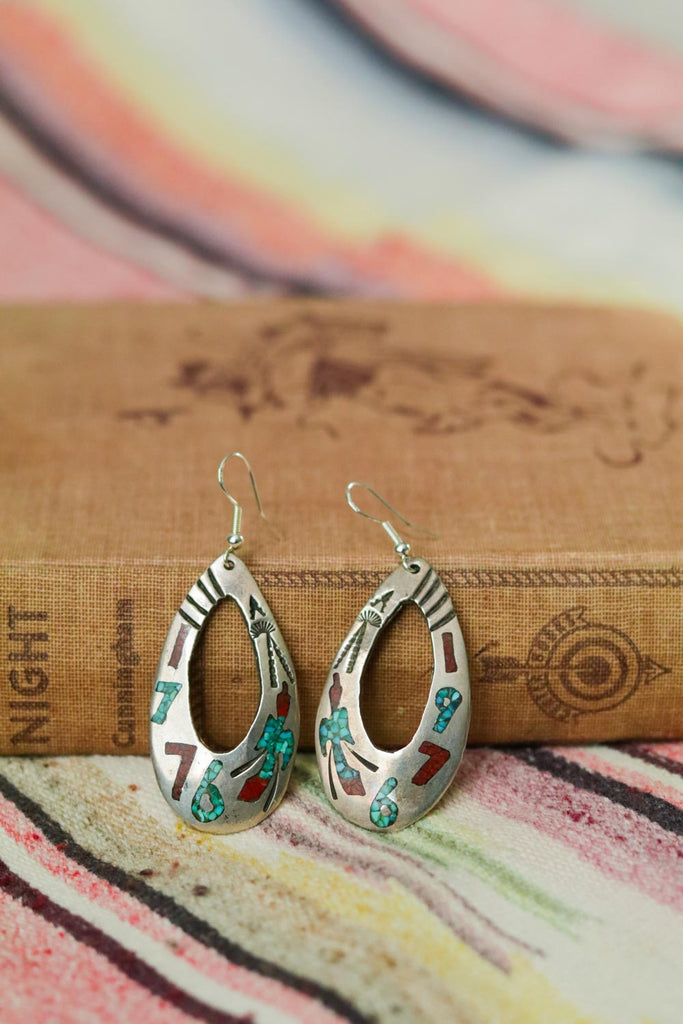 Vintage Navajo Bicentennial Thunderbird Inlay Hoop Earrings - Cowgirl Relics