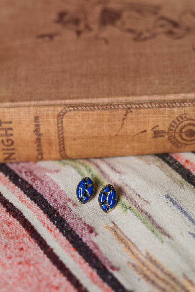 Vintage Sterling Silver and Lapis Inlay Earrings