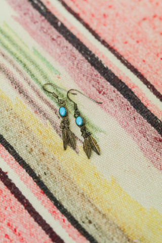 Vintage Sterling Silver and Turquoise Feather Earrings - Cowgirl Relics