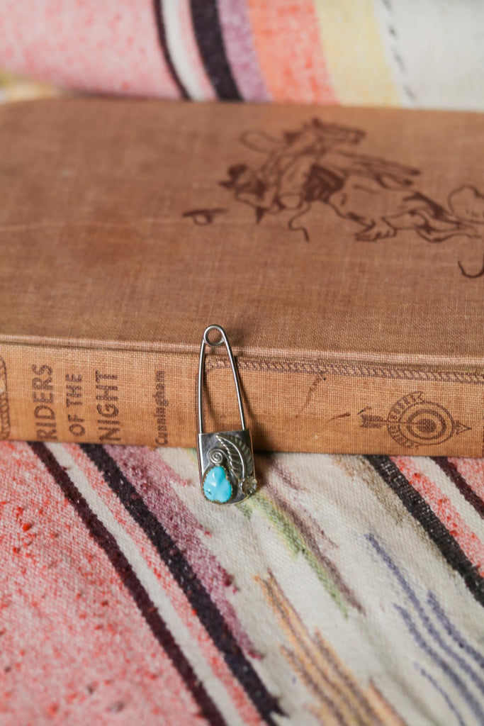 vintage southwest style silver and turquoise laundry pin