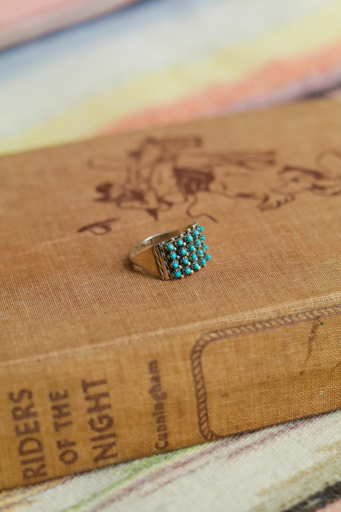 Vintage Southwest Turquoise Snake Eyes Ring - Cowgirl Relics