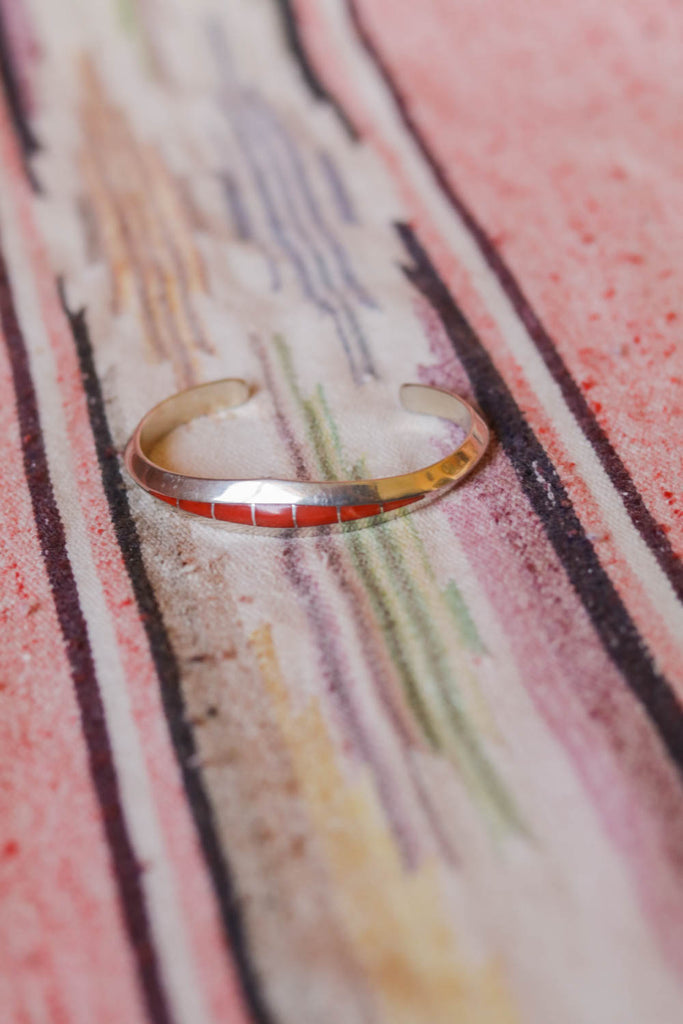 vintage sterling silver and coral inlay southwest cuff