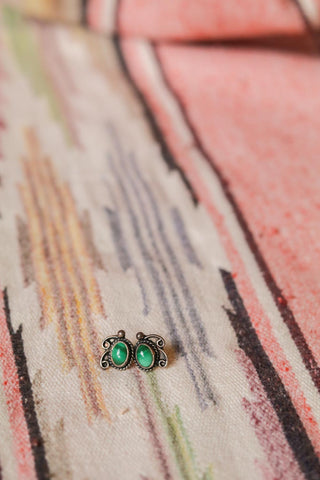 vintage southwest sterling silver and malachite stud earrings
