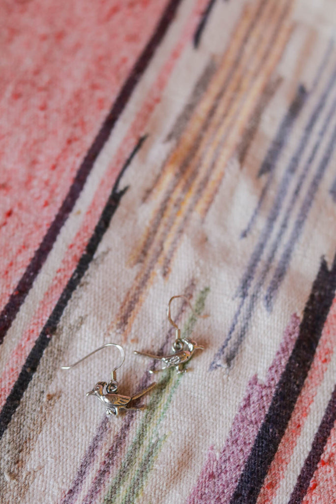 vintage sterling silver roadrunner earrings