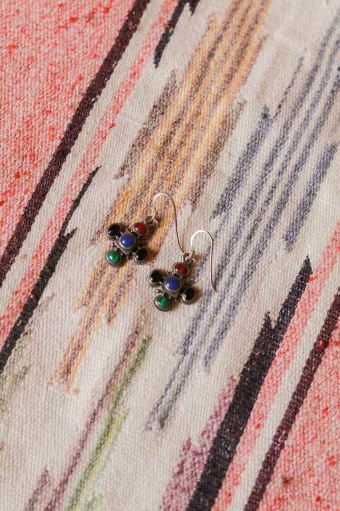 vintage sterling silver and multicolored stone southwest cross earrings