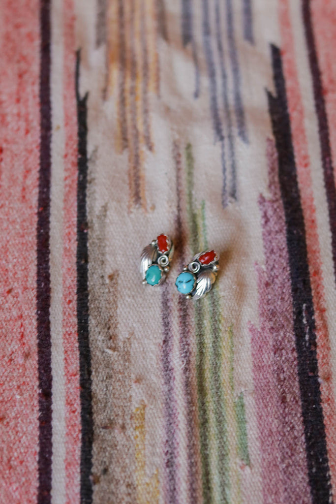 vintage sterling silver turquoise coral southwest earrings