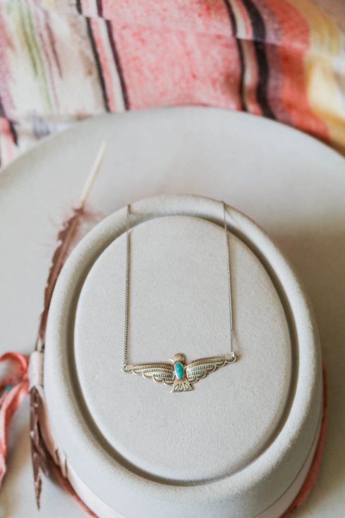 rare vintage southwest fred harvey style thunderbird necklace