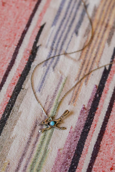 vintage southwest sterling silver and turquoise native american roadrunner necklace
