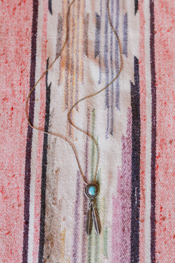 vintage southwest sterling silver and turquoise feather necklace