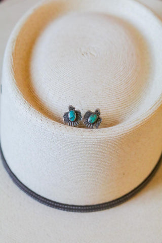 vintage southwest sterling silver and turquoise thunderbird screwback earrings
