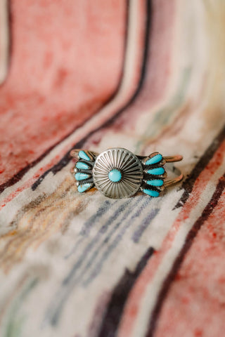 Vintage Turquoise Petite Point Concho Cuff