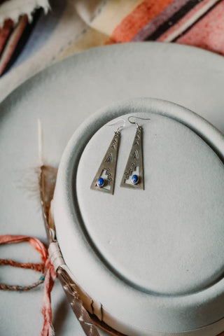 vintage sterling silver and lapis southwest earrings
