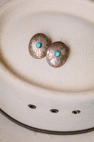 vintage southwest sterling silver and turquoise concho earrings
