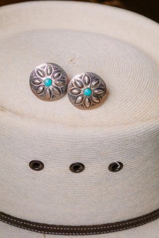 vintage southwest sterling silver and turquoise round concho earrings