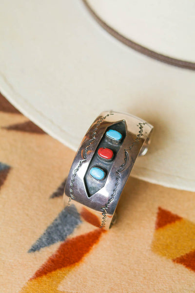 vintage southwest turquoise and coral shadowbox statement cuff