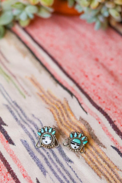 old pawn vintage southwest sunface earrings