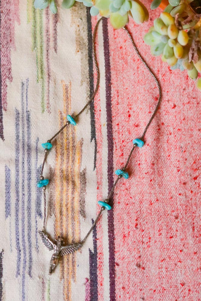 Vintage Sterling Liquid Silver and Turquoise Kachina Necklace