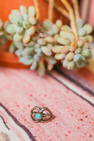 vintage sandcast and turquoise southwest ring