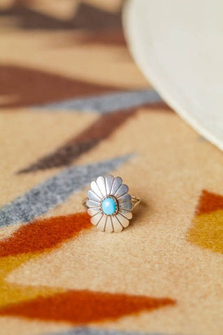 vintage sterling silver and turquoise concho ring