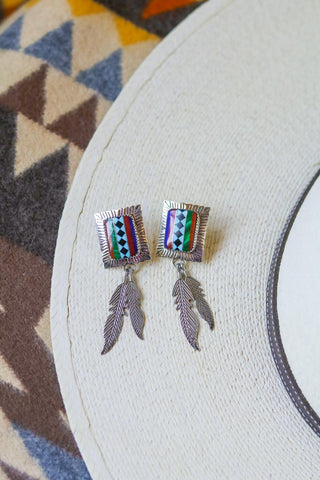 vintage southwest feather inlay earrings