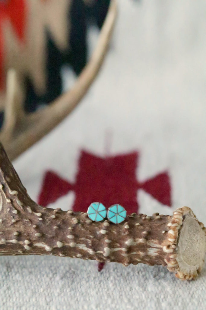 Vintage Turquoise Inlay Stud Earrings - Cowgirl Relics