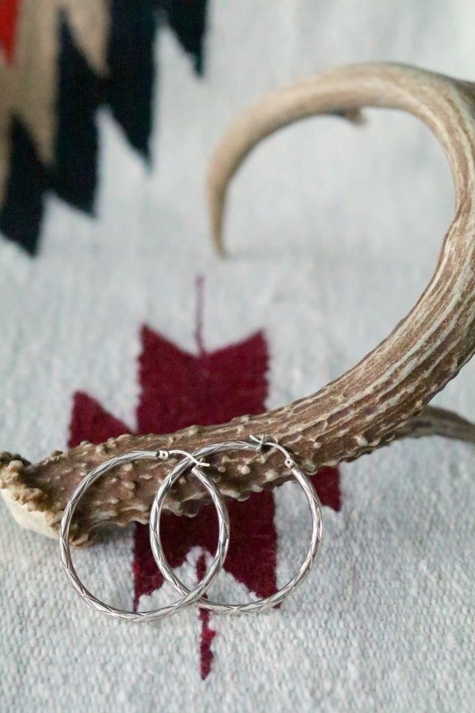Vintage Sterling Silver Stamped Southwest Hoops - Cowgirl Relics