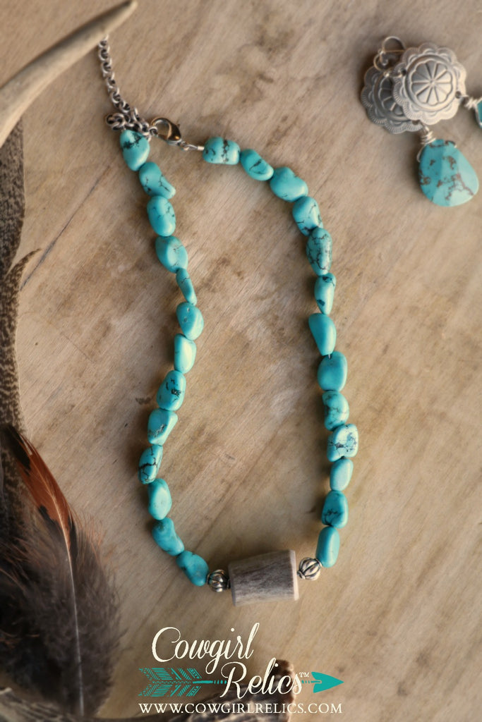 Bigfork Turquoise and Antler Shed Western Choker Necklace - Cowgirl Relics