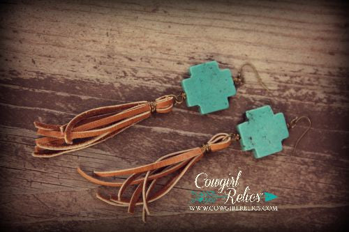 Chinati Teal Cross and Fringe Earrings - Cowgirl Relics